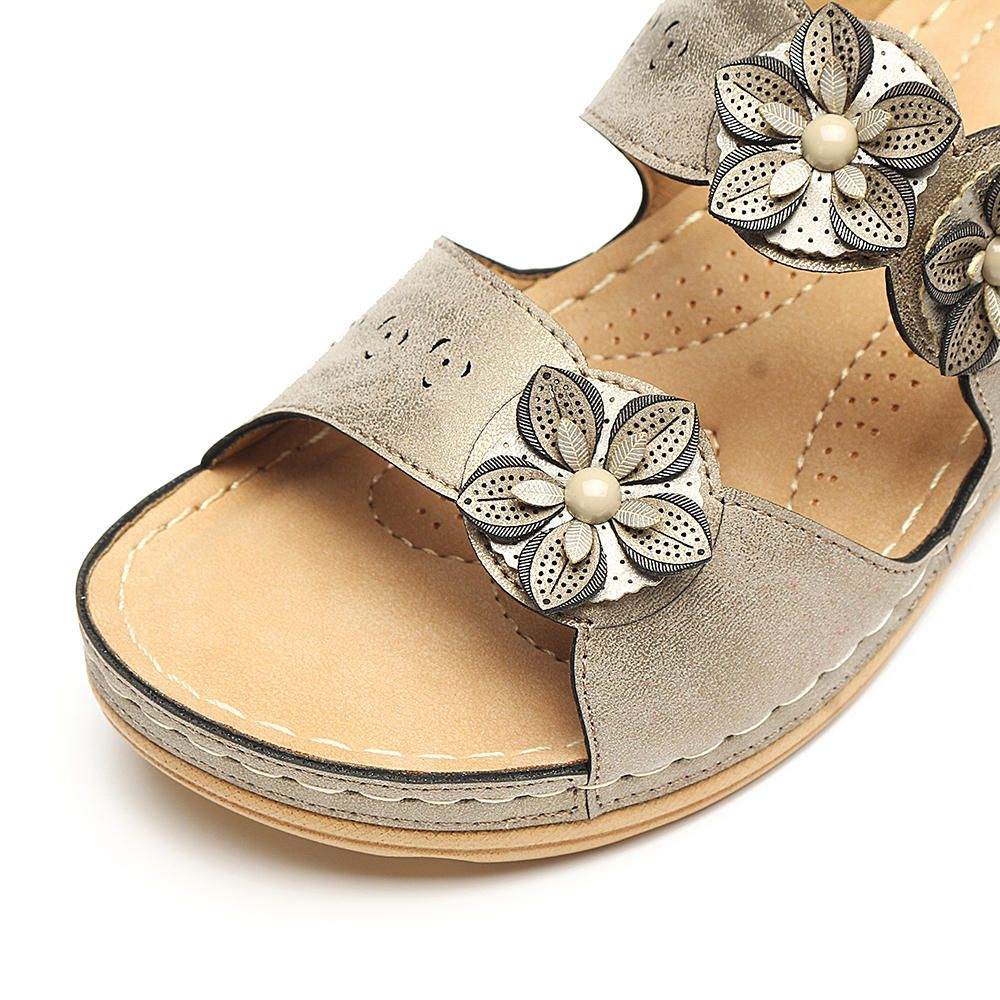 78a24e37f263 LOSTISY Flowers Slip On Soft Casual Wedge Sandals