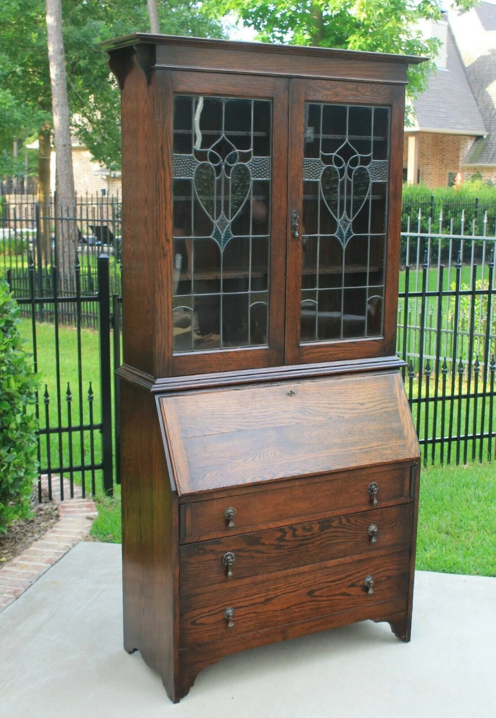 Antique English Oak Secretary Desk Bookcase Art Nouveau Bureau Stained Europeancrossroadsantique Antique Secretary Desks Leaded Glass Door Stained Glass Door