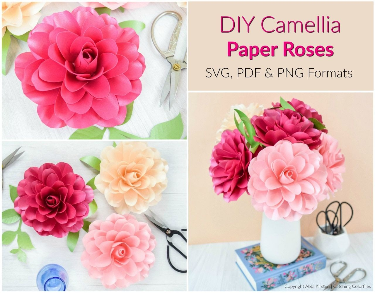 Camellia Paper Rose Template Paper Flower Template Paper Roses Paper Rose Template