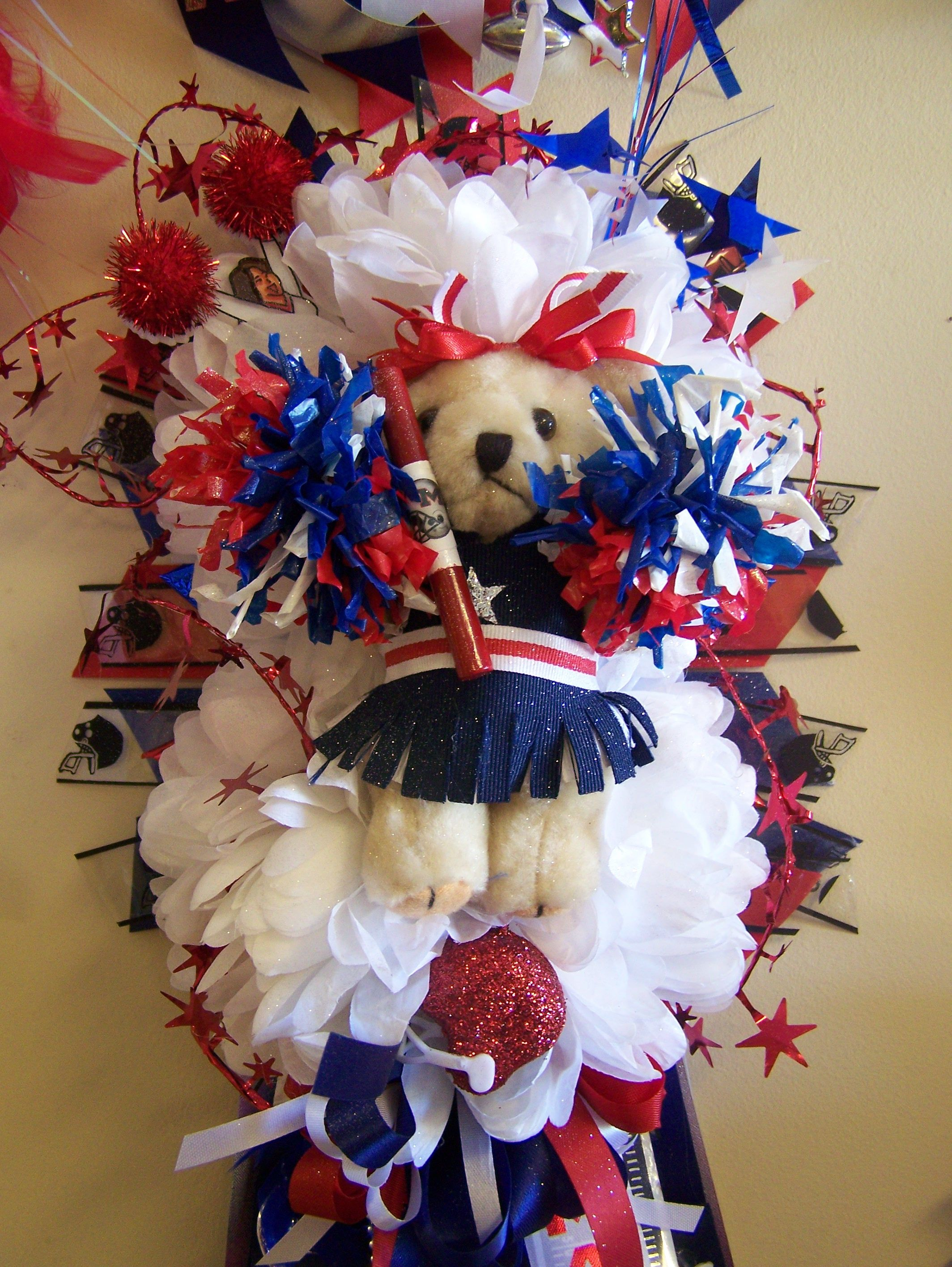 Red White And Blue Cheer Bear Homecoming Mum  Colors &