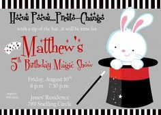 Magic Trick Magician Personalized Boy Birthday Party Invitation File