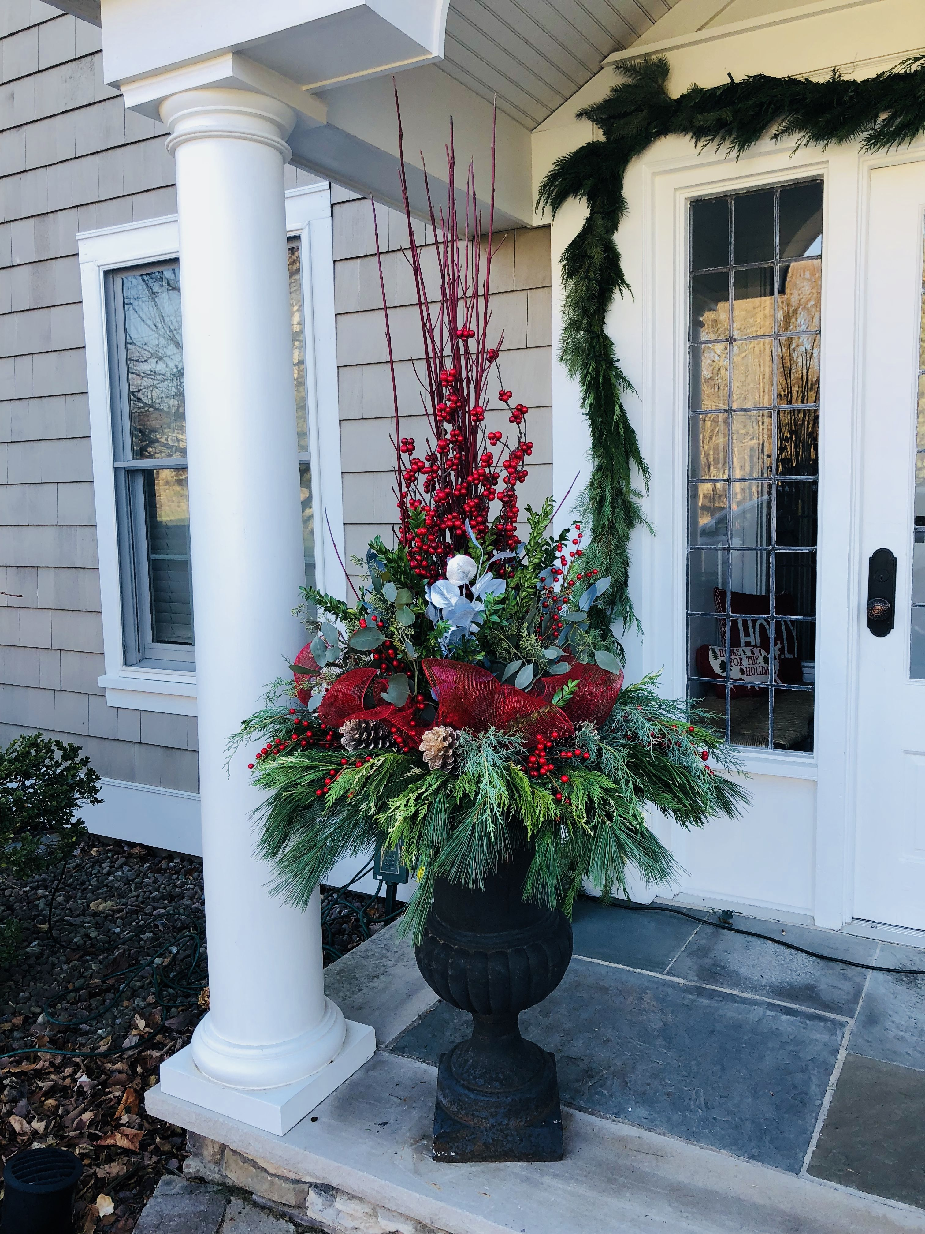 Holiday Urns | Christmas urns, Outdoor christmas planters ...