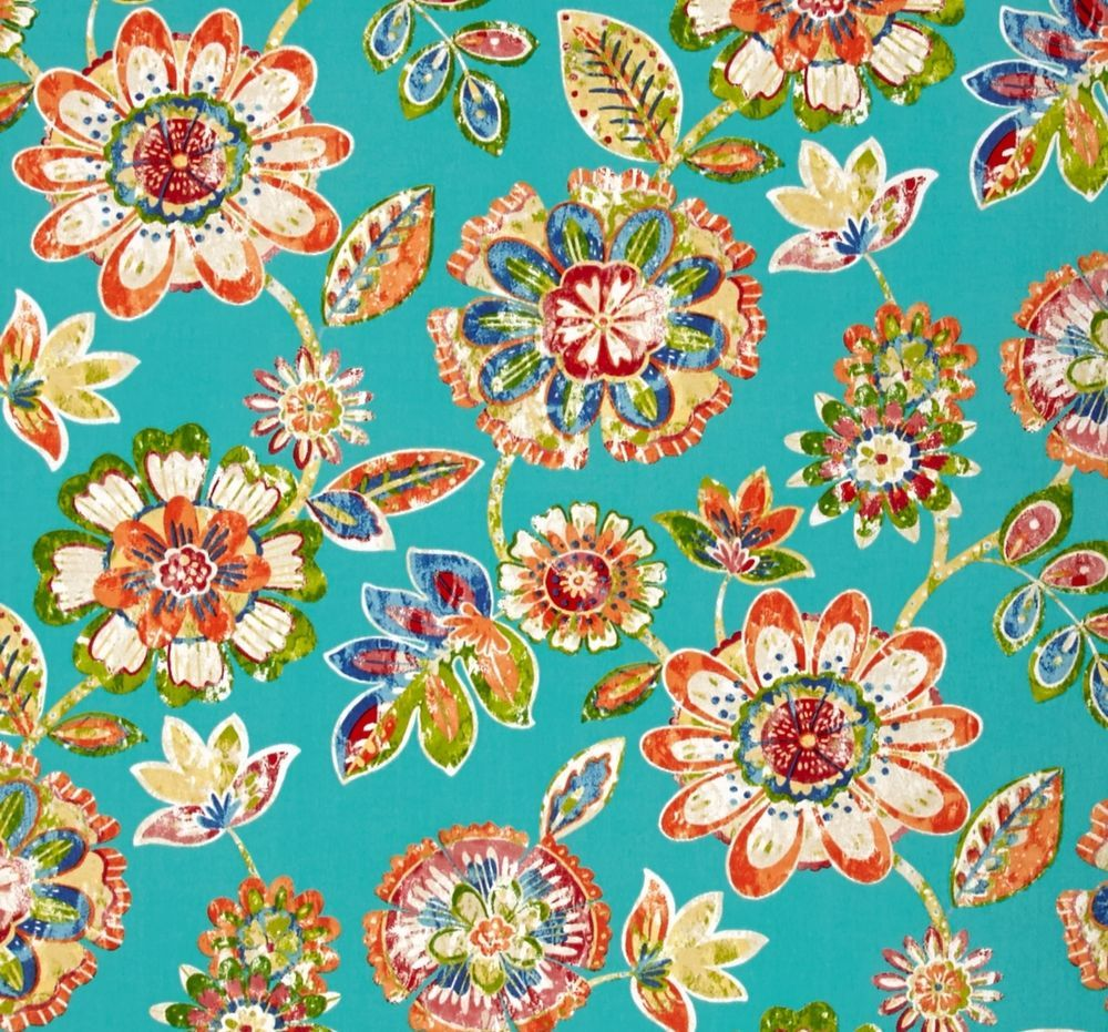 Outdoor Indoor Upholstery Retro Floral On Turquoise Fabric Per 1 4 Yard Outdoor Fabric Folk Art Flowers Fabric Decor