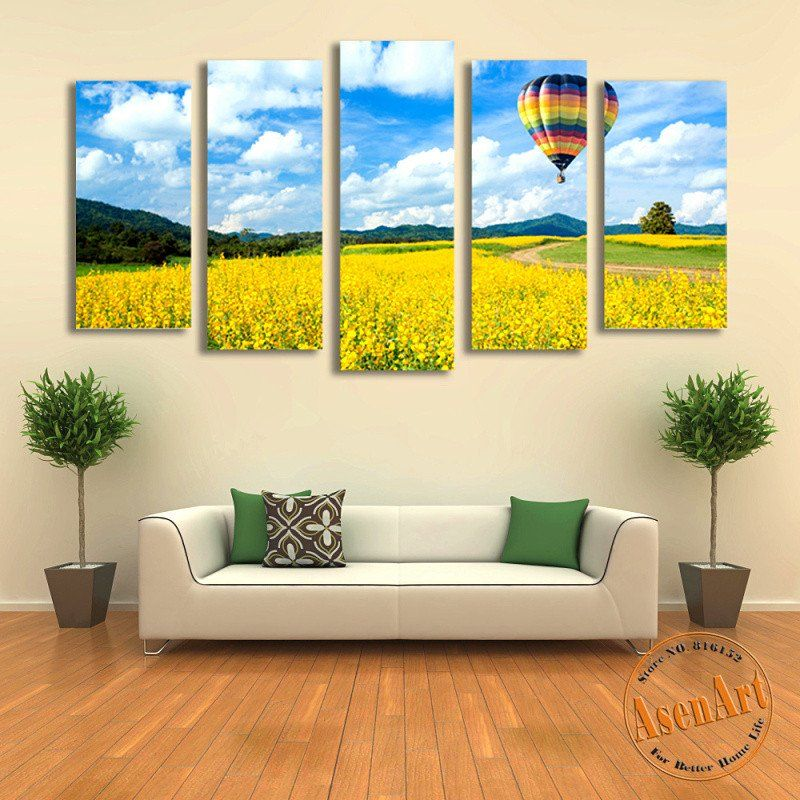 5 Panel Balloon on Canola Flower Landscape Canvas Painting Prints ...
