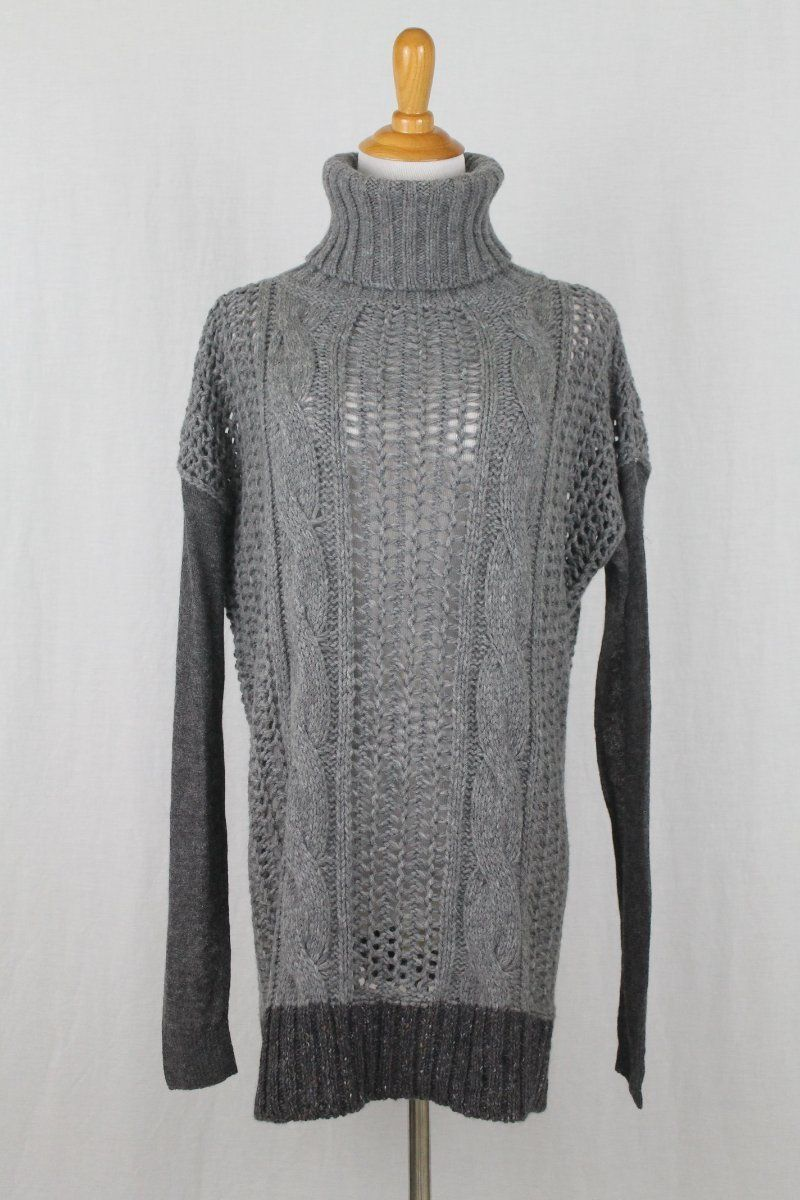 c42f0ac612fc76 Vintage Max Mara Sportmax Italy Chunky Gray Hand Knitted Cableknit Cashmere  Blend Turtleneck Sweater Small 40 by on Etsy