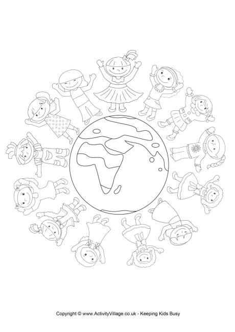 World Thinking Day Colouring Page 2 Guiding Around The World