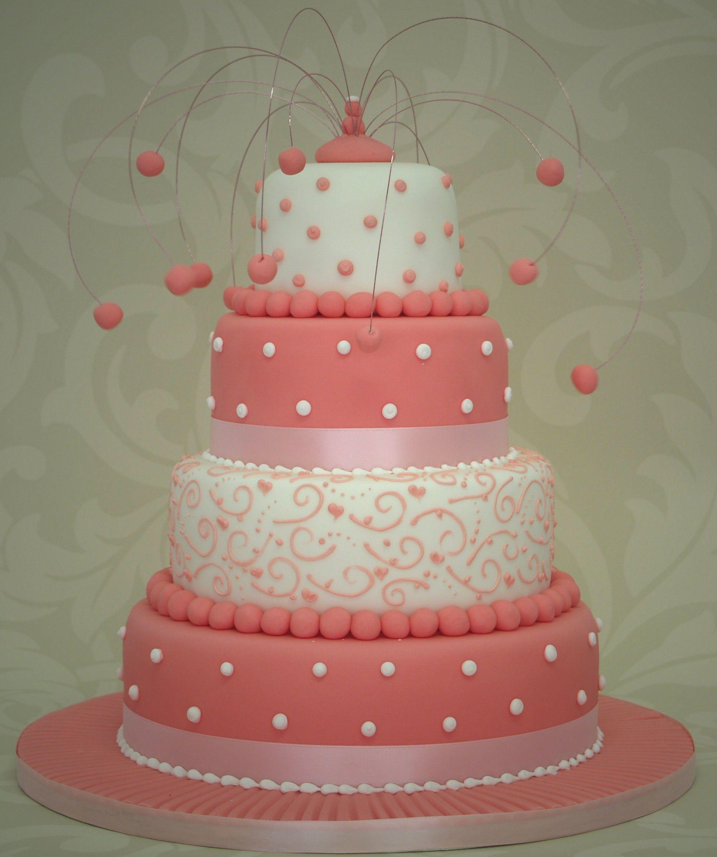 White And Pink Wedding Cake Designs
