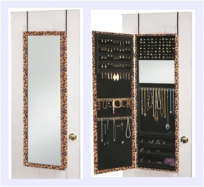 Jewelry Cabinet Two Mirrors Door Hanging Wall Mount Jewelry