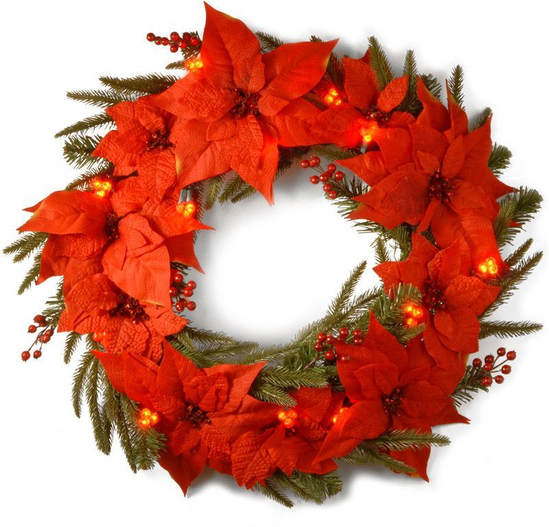"""National Tree PT13-302L-24WB1 24"""" Poinsettia Wreath with 36 Red Cluster LED Battery Operated Lights"""