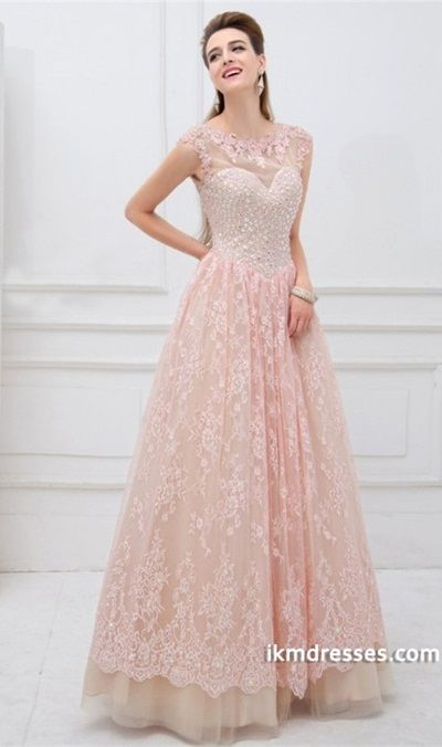 2015 Scoop Neckline Open Back A Line Tulle And Lace Prom Dress Rhinestone Beaded Bodice  http://www.ikmdresses.com/2014-Scoop-Neckline-Open-Back-A-Line-Tulle-And-Lace-Prom-Dress-Rhinestone-Beaded-Bodice-p85190