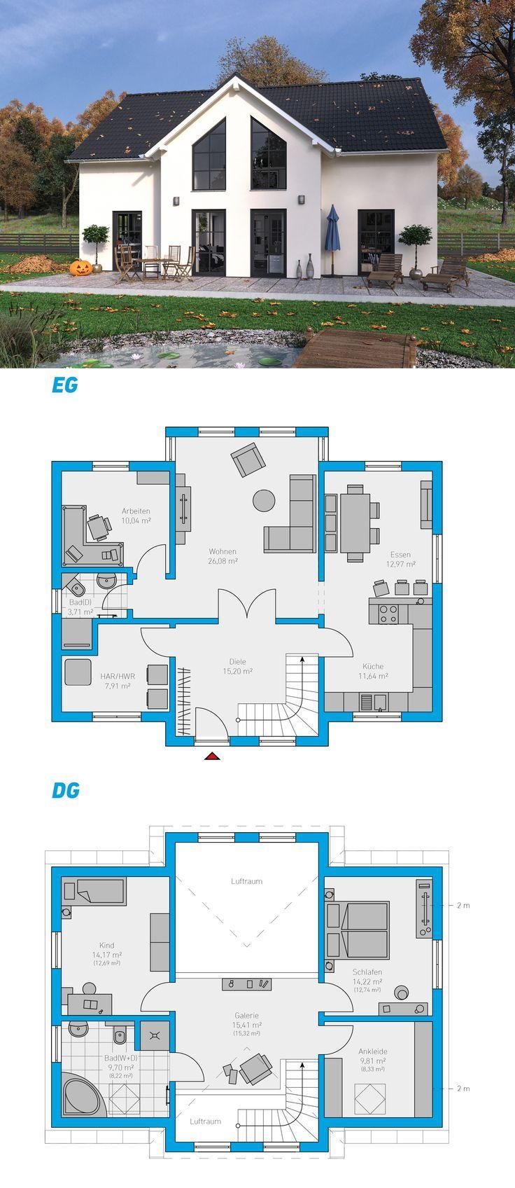 Clarus 151 schl sselfertiges massivhaus 1 5 geschossig for Massivhaus modern
