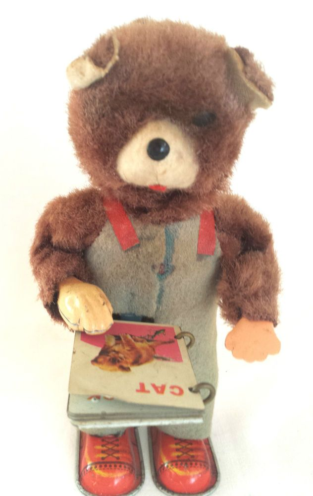 1920 mechanical wind up teddy bear reading book japan tin wind up