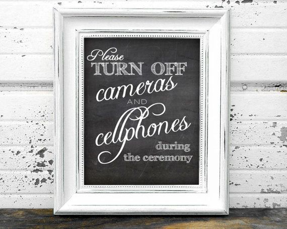 """Instant Download Unplugged Wedding Ceremony - Turn Off Cameras & Cellphones Chalkboard Printable Sign in 8x10"""" Ready to Print and Frame!"""
