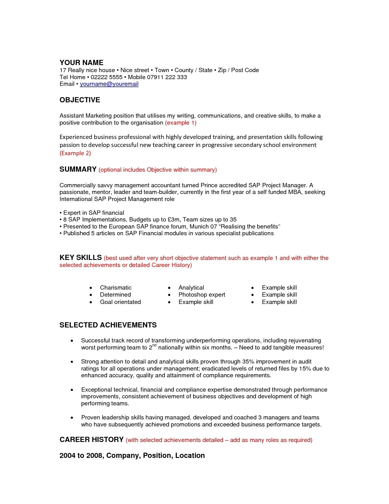 career change resume objective examples template online for denial ...