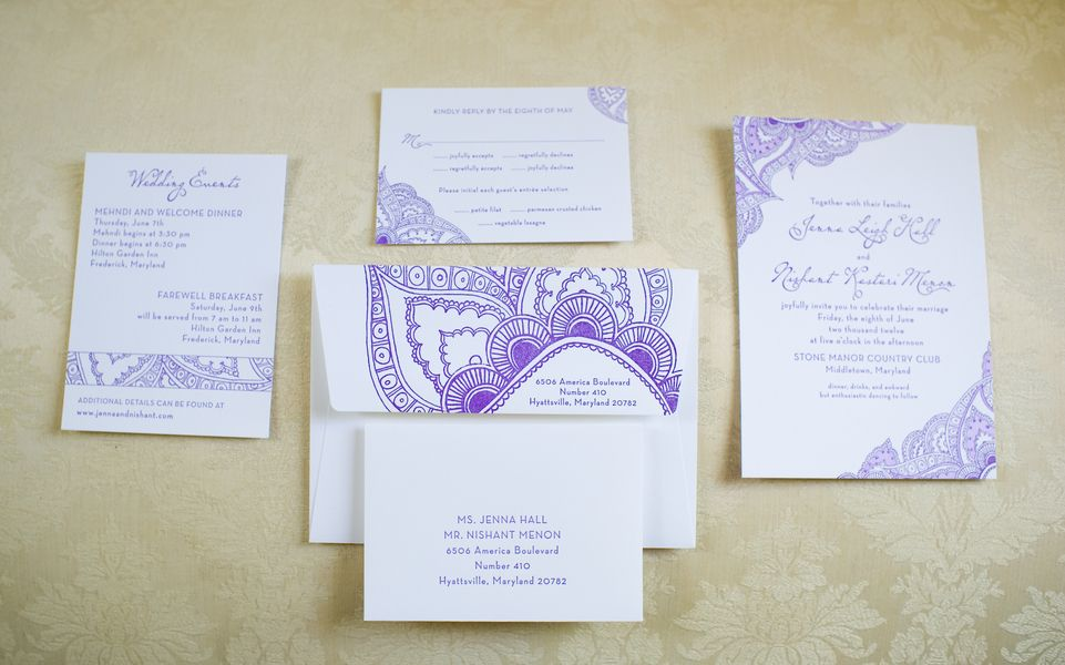 Henna Inspired Wedding Invitations 550x343 Multicultural Maryland Ceremony Jenna Nishant