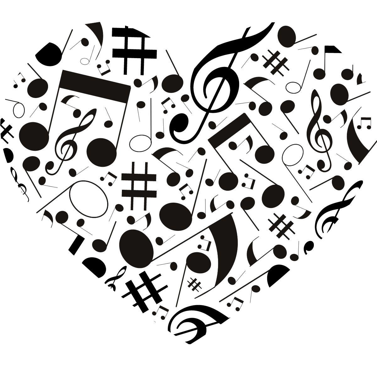 Details about Musical Note Love Heart Wall Art Sticker