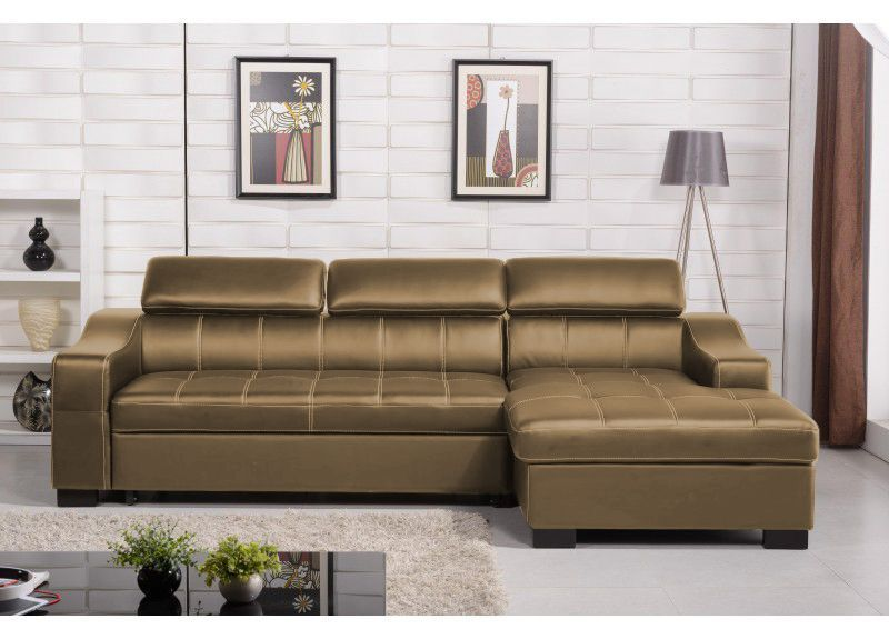 Venus 3 Seater Leather Double Sofabed With Storage Chaise In