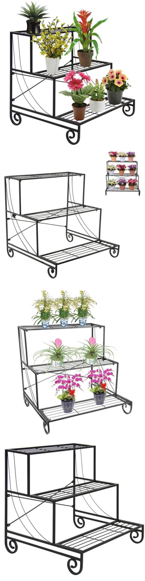 Plant Stands 29514: 3 Tier Metal Plant Stand Decorative Planter Holder  Flower Pot Shelf Rack