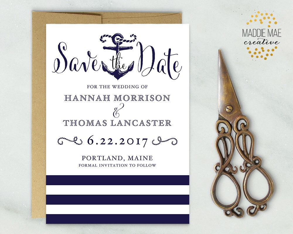 Nautical Save The Date Save Our Date Announcement Anchor Sailing
