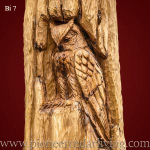 Horned owl cedar relief carving on western red cedar log.. relief