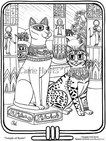 Bastet Coloring | Coloring Page - Temple Of Bastet-coloring pages, coloring book ...