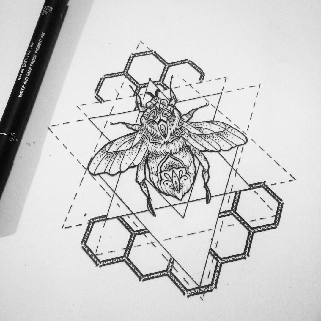 Geometric Line Drawing Artists : Geometric bee love but wouldn t get tatto design