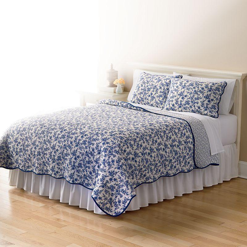 Home Classics Sarah Toile Reversible Quilt Blue Quilts