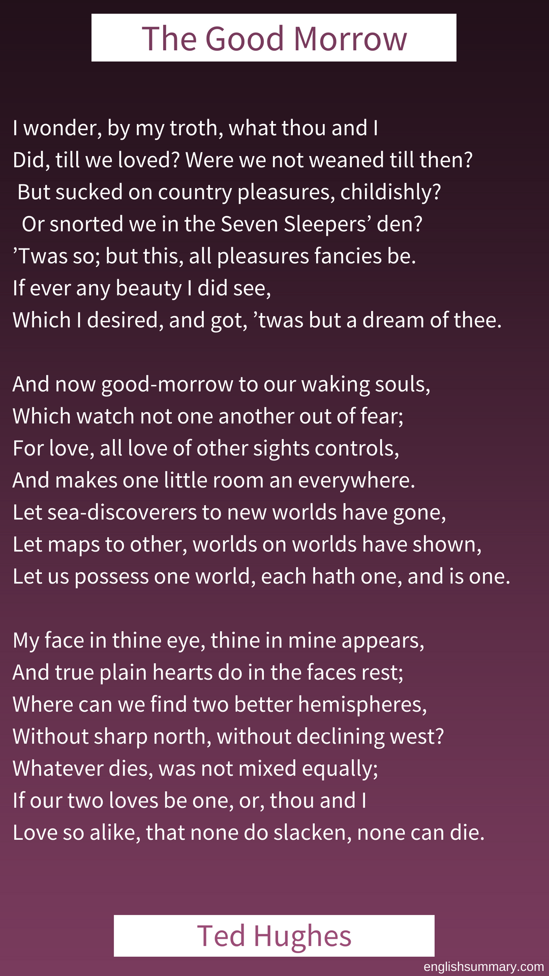 The Good Morrow Poem By John Donne Morning Things Theme Of