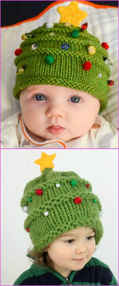 Knit Christmas Tree Hat Free Patterns | Christmas knitting ...
