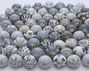 Assorted Grey and White Ceramic Door Knobs Kitchen Cabinet Drawer ...