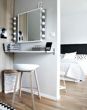 El blanco y el negro son los dos colores básicos de este dormitorio... Además te damos una idea para montar un pequeño tocador.