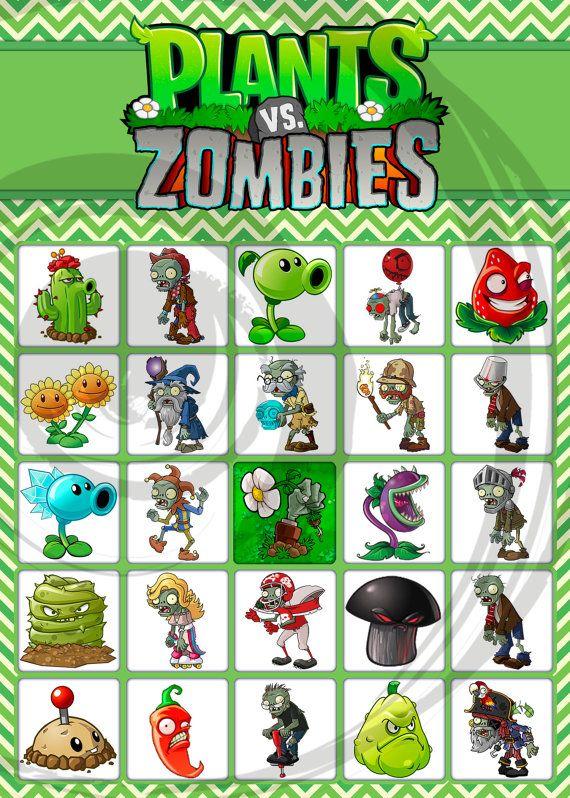 Plants vs Zombies Printable Party Bingo Game SET 1 by EDParty