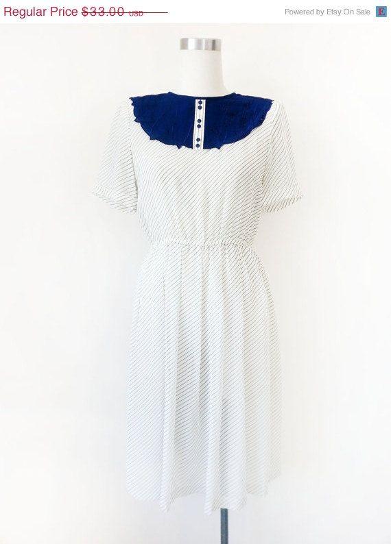 658e9047ad35 Japanese Vintage Dress   White Striped Dress   White Dress   Floral  Collared Dress   Summer Dress   Size Xs S