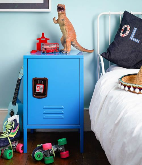 Kids Retro Locker Bedside Cabinet Kids Bedside Table