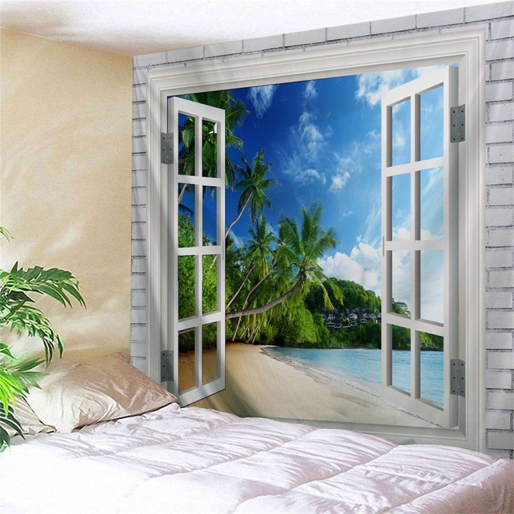 Beach trees window print tapestry wall hanging art tapestry wall