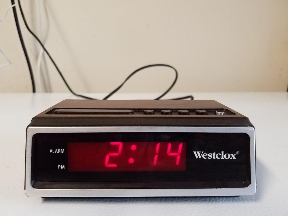 Working Vintage Westclox Digital Alarm Clock Faux Wood Grain Model # 22651  #Westclox