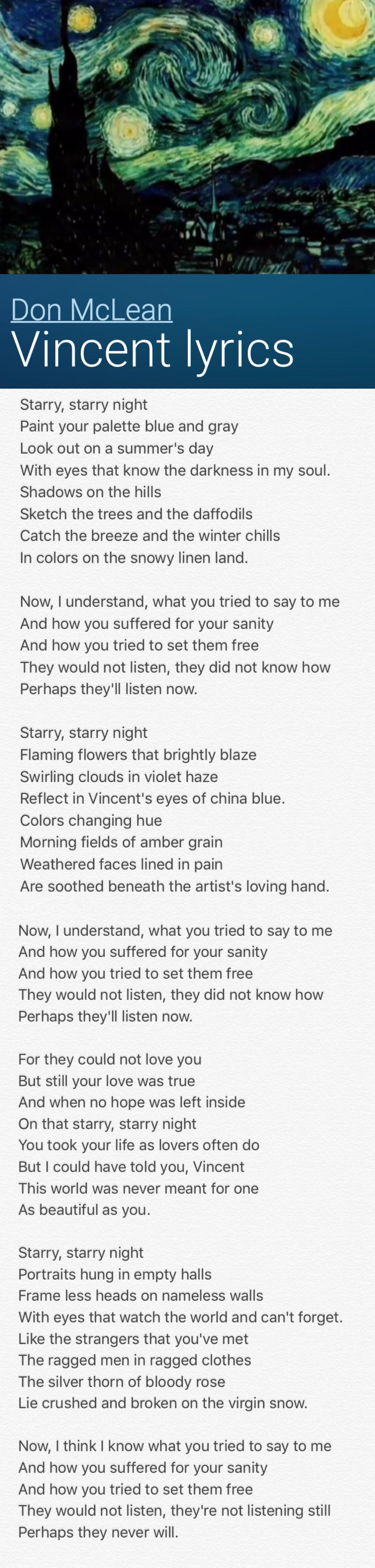 Ok Go The Writing S On The Wall Lyrics Don Maclean S Vincent Great Song Lyrics Lyrics Music Lyrics