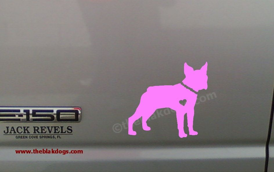 Boston Terrier Boy or Girl - Vinyl Sticker Car Decal. $6.00, via Etsy.