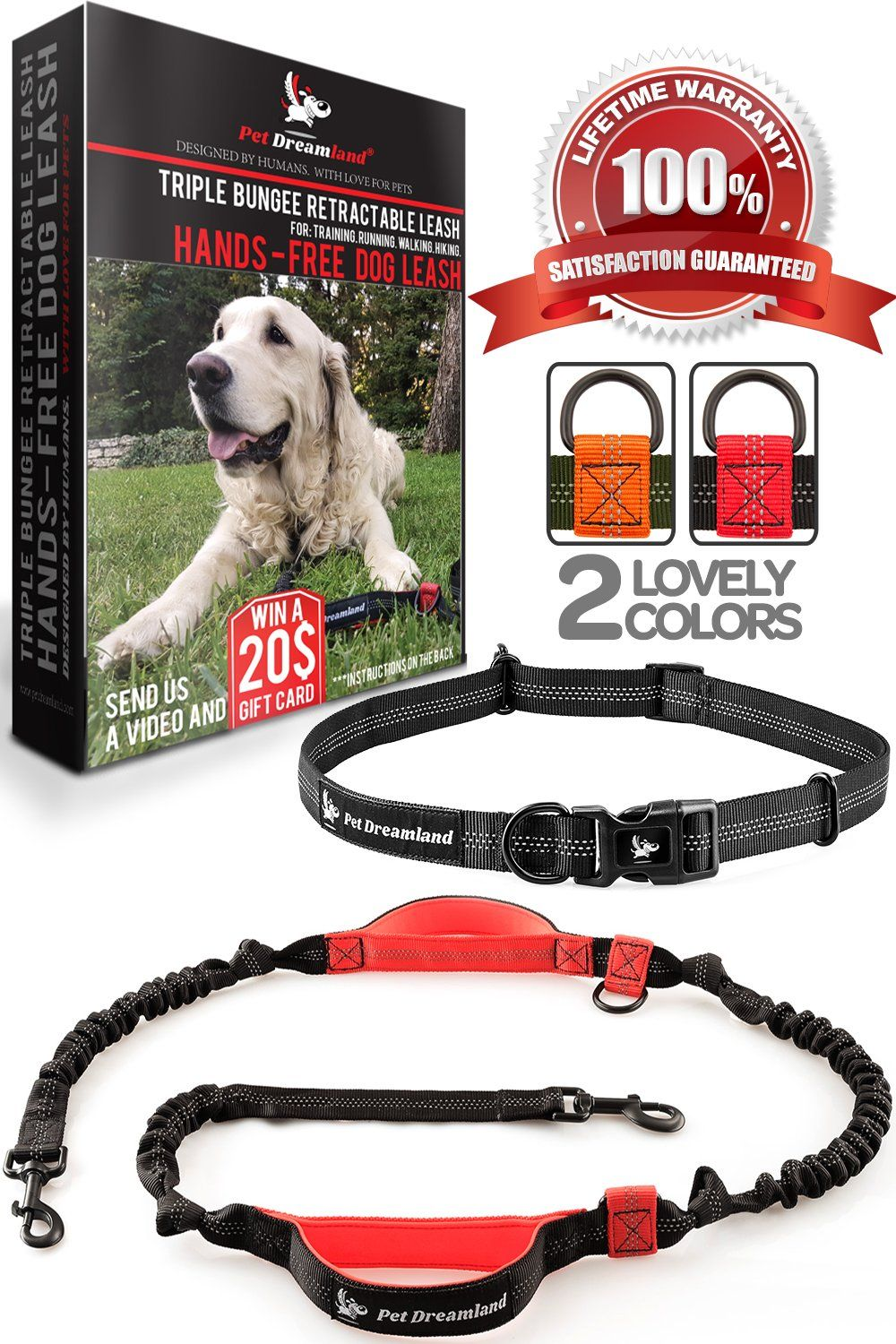Pet Dreamland Dog Running Leash Hands Free For Medium To Large