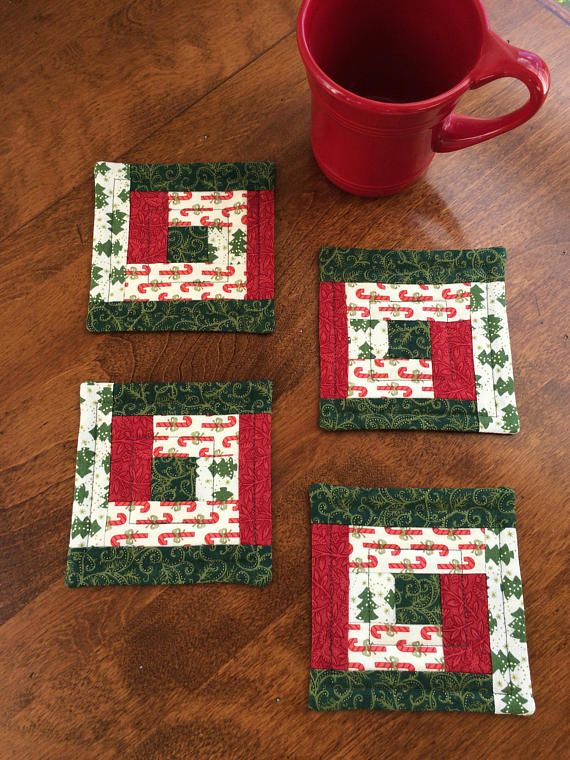 4 Quilted Log Cabin Candy Cane Christmas Tree Coasters