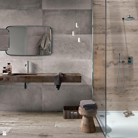 Id e d coration salle de bain un m lange de mati res for Salle de bain bois et beton
