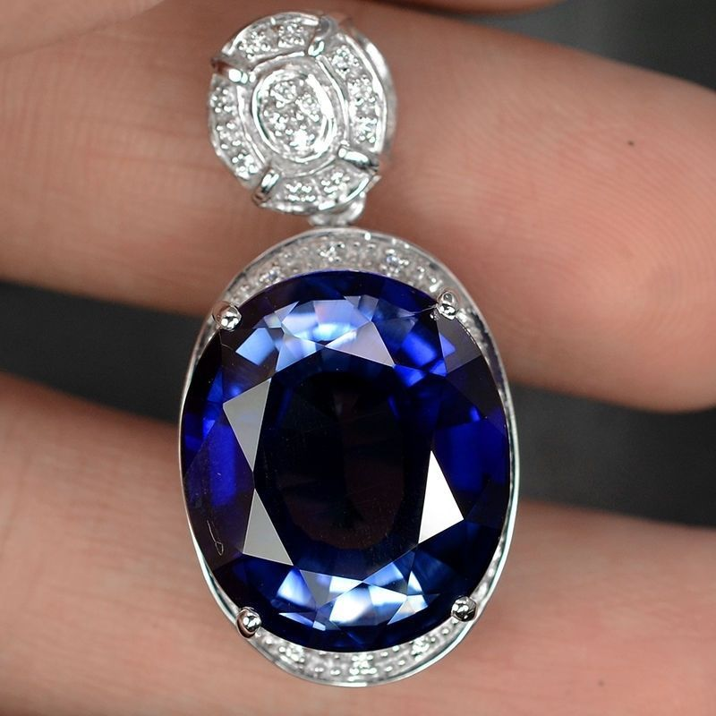 necklaces jewelry oval sapphire pendant white cut j and master deep for n gold necklace diamond natural id karat halo blue