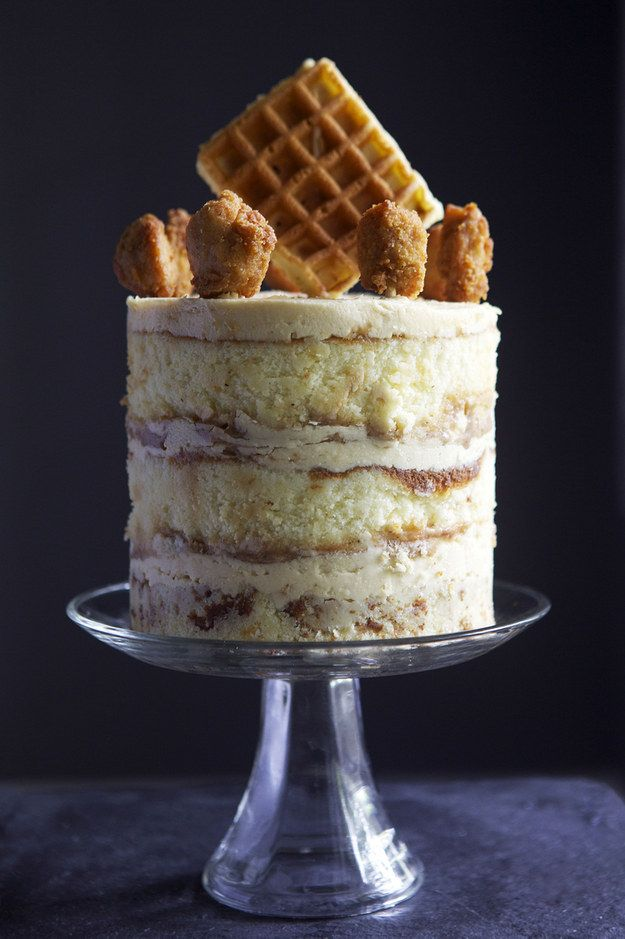 Chicken and Waffles Buttermilk Cake with Maple Syrup Buttercream | 15 Next-Level Ways To Eat Chicken And Waffles