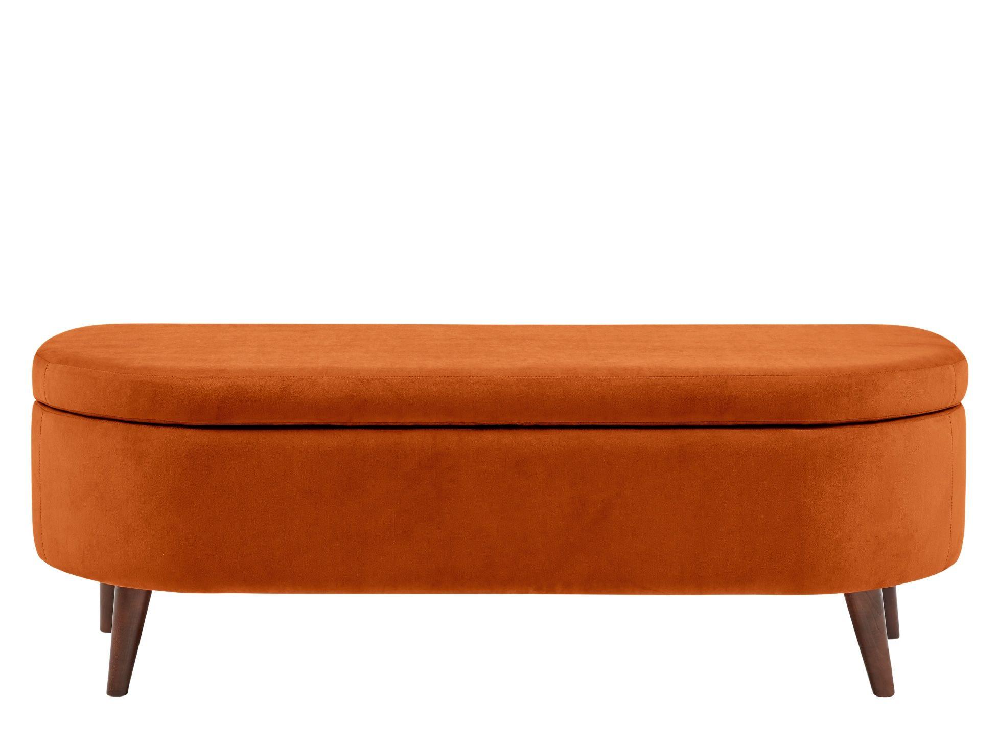 Lulu Ottoman Bench Paprika Orange Velvet Ottoman Bench Ottoman Storage Bench