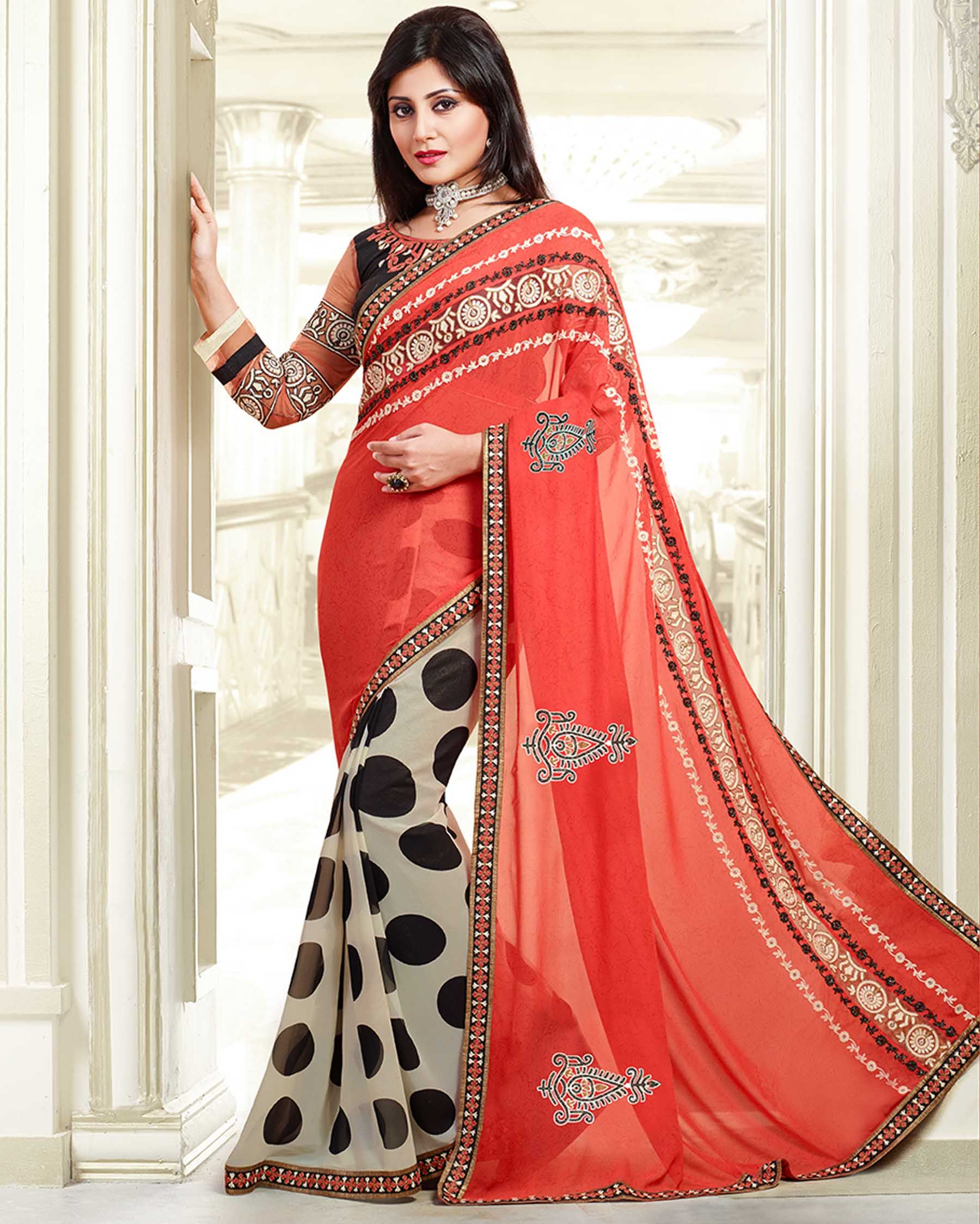 Red   luxuriant Embroidered Georgette latest trendy Sarees       Fabric:   Georgette       Work:   Embroidered       Type:   latest trendy Sarees       Color:   Red                 Saree Fabric   Georgette       Blouse Fabric   Raw Silk