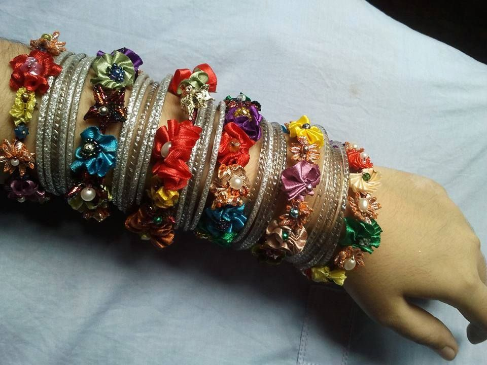 Ribbon Flower Bangals made by Saim Shahid http://www.pinterest.com/saimshahid/