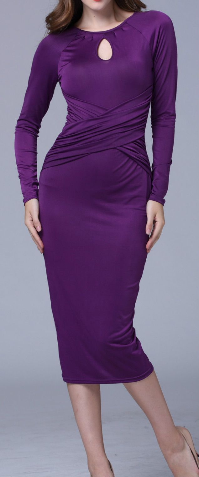 Long sleeve dresses to wear to a wedding  Pleated Hollowed out Long Sleeve Solid Color Midi Dress  tyxgbaj