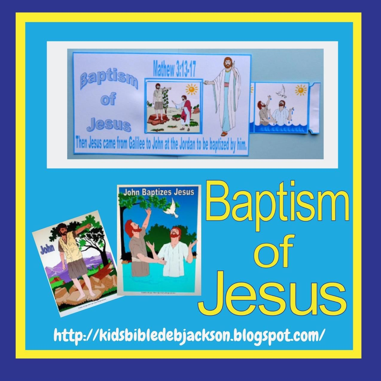 baptism of jesus with pictures to color and printable lesson