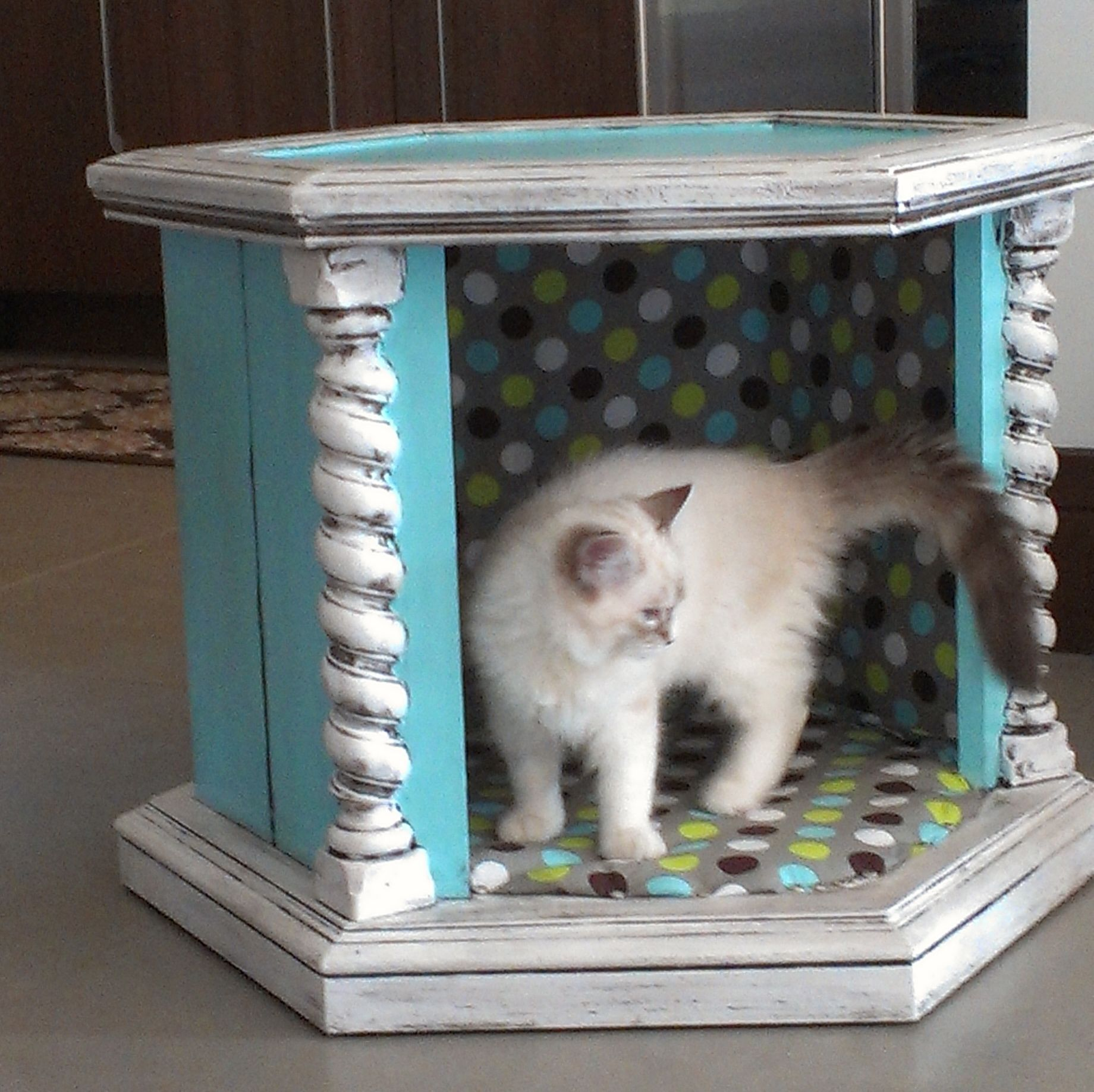 Kitty Bed From Old Hexagon End Table