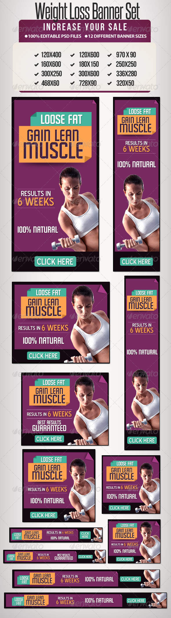 Weight Loss Banner Ad Set 12 Sizes Banners Ads Web Template
